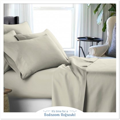 Bedsheets Solid Collection 100% Combed Cotton[880 threads] : S.Single/Queen - Ivory