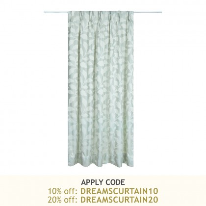 """1 Set French Pleat Jacquard Curtain 120"""" x 86""""  - Leaves Teal"""